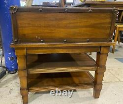 Unique Trunk Style End Table with 2 Shelves 1 Drawer Buckle Lock Design