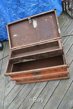 Vanderman Antique Railroad Steamer Train Trunk 1897 Strong box Coffee Table
