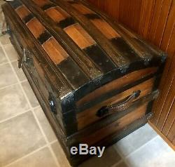Victorian Antique Steam Travel Trunk Chest Dome Wood Large C 1880 Wedding Gift