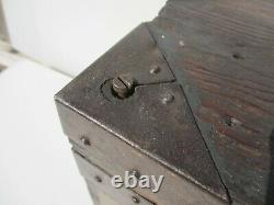 Victorian Army Wooden Box Trunk Old Wood Iron Straps Tools Antique Red Coats 17