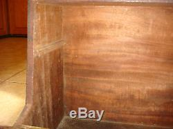 Victorian English Antique LARGE Campaign Tool box Mahogany Brass Trunk / table