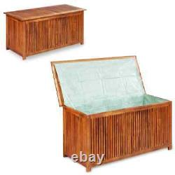 VidaXL Solid Wood Storage Box 46.1 Outdoor Patio Bench Chest Trunk Blanket