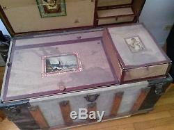 Vintage 1900's Steamer Trunk/Train Luggage with top tray wood & metal fittings