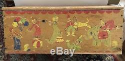 Vintage 1960 Charming, Rustic, Wood, Toy Chest Trunk Rope Handles