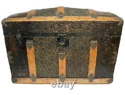 Vintage Antique 1800's Victorian Dome-Top Wood/ Metal Travel Storage Trunk