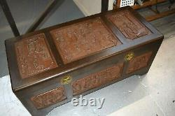 Vintage Antique Chinese Rosewood Hand Carved Camphor Interior Trunk J. L. George