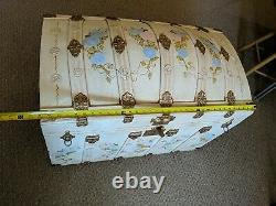 Vintage Antique Large HAND PAINTED Metal Wood Camelback Trunk Chest Steamer