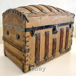 Vintage Antique Steamer Trunk Victorian Wood Metal Dome Top Chest