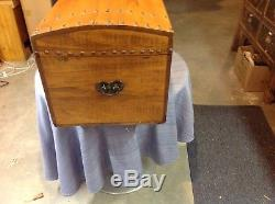 Vintage Antique Wooden Wood Travel Trunk/Chest Circa 1820 Hide Initiled