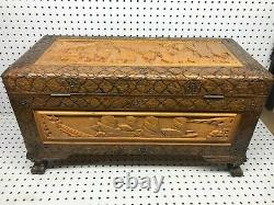 Vintage Asian Heavily Carved Wood Storage Chest Trunk mid century design