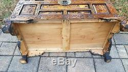 Vintage Asian carved camphor wood trunk chest coffee table brass footed Chinese