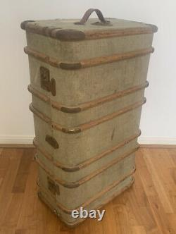 Vintage Bentwood Cabin Trunk Antique Storage Chest Coffee Table Steamer Large