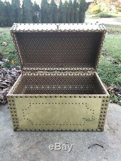 Vintage Brass Wood Trunk Chest Hollywood Regency Glam Handles Tacked hobnail 70s