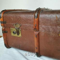 Vintage Brown Wooden Banded Steamer Trunk Travel Chest Luggage Suitcase Case
