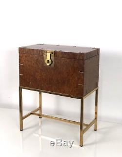 Vintage Burl Storage Chest Trunk Brass Stand Campaign End Side Table Mid Century