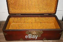 Vintage Chinese Wood Brass Document Box Trunk Chest Japanese Antique Hinged