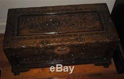 Vintage Chinese footed Camphor trunk Blanket chest carved wood birds and flowers