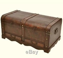 Vintage Coffee Table Storage Wood Treasure Chest Large Vintage Trunk Antique Box