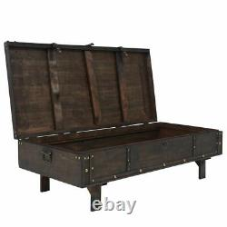 Vintage Coffee Table Wood Storage Chest Wooden Bench Antique Box Brown Trunk