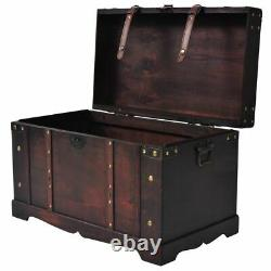 Vintage Coffee Table Wood Storage Treasure Chest Large Trunk Box Home Decor