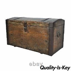 Vintage Distressed Dome Top Primitive Treasure Blanket Chest Trunk Coffee Table