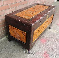 Vintage Hand Carved Horse Plow Theme Wood Asian Oriental Camphor Chest Trunk 40