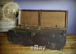 Vintage Industrial Wooden Tool Chest Trunk