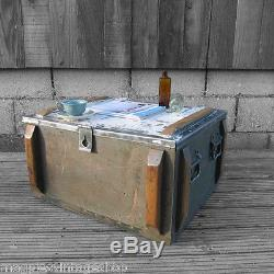 Vintage Metal Wood Rustic Pine Military Industrial old Chest Trunk Coffee Table