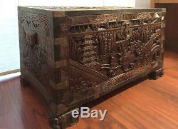 Vintage Mid Century Chinese Camphor Wood Lined Chest Blanket Trunk Coffee Table