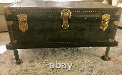 Vintage National Vulcanized Fibre Co. Trunk With Custom Wood Base Coffee Table