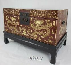 Vintage Oriental Lacquered Chest Trunk On Carved Base Coffee Table Storage Asian