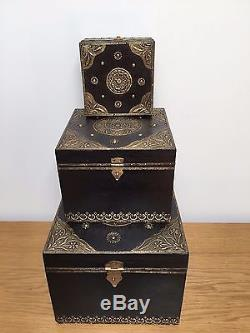 Vintage Rajasthani Wooden Indian Jewellery Box Storage Trunk Chest Antique