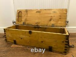 Vintage Rustic Storage Chest Ammo Box Wooden Industrial Trunk Home Coffee Table