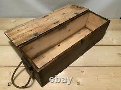 Vintage Rustic Storage Chest Box Burnt Wood Trunk Farmhouse Home Coffee Table