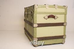 Vintage STEAMER TRUNK box wood chest coffee table base antique box storage GREEN
