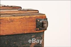 Vintage STEAMER TRUNK box wood chest coffee table base toy antique loft storage