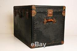 Vintage STEAMER TRUNK box wood chest coffee table base vulcanized storage toy nm