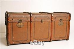 Vintage STEAMER TRUNK chest train luggage coffee table storage antique old wood