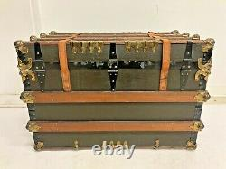 Vintage STEAMER TRUNK storage chest leather brown antique toy box coffee table