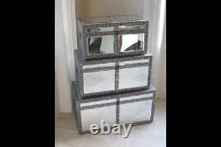 Vintage Shabby Chic Embossed & Mirrored Set of 3 Trunks or Table Statement Piece
