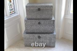 Vintage Shabby Chic Embossed Set of 3 Trunks or Table Statement Piece