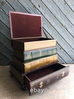 Vintage Stacked Faux Books End Table With Top Trunk and 1 Drawer Librarian