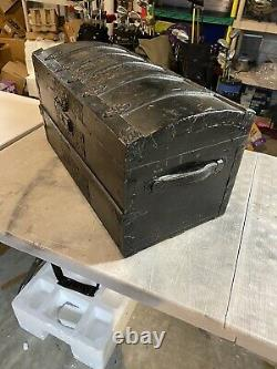Vintage Steamer Trunk 26 Inches Wide Victorian Dome Top Wooden Chest Tray