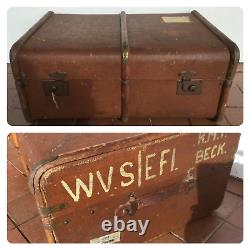 Vintage Steamer Trunk Luggage Bentwood Frame British Made Chest With Key