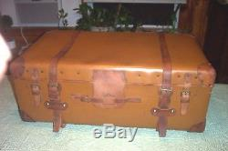 Vintage Steamer Trunk Suitcase Leather Wood Slat Wood Cabin Trunk Chest