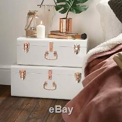 Vintage Suitcase Storage Box Set of 2 Wooden Trunk Chest Luggage Bedroom White