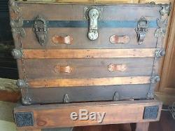 Vintage TRUNK With Stand storage chest steamer train humpback box wooden antique