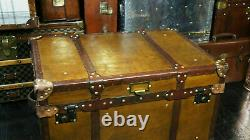 Vintage Tan Leather Coffee Table Chest Trunk with Antique leather Trim handmade
