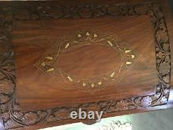 Vintage Teak Wooden Carved Trunk Hope Chest Brass Inlay Box Heavy