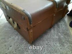 Vintage Travel Trunk Steamer Trunk / Coffee Table c1930-1950